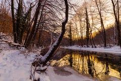 Landskap av den lösa floden med solnedgånghimmelreflexion i bergen, i vinter Fotografering för Bildbyråer