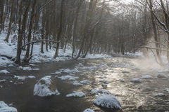 Landskap av den lösa floden med solnedgånghimmelreflexion i bergen, i vinter Royaltyfria Bilder