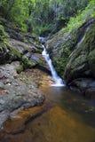 Landskap av den lilla vattenfallet som applåderar över en vagga med ett långt e royaltyfria bilder