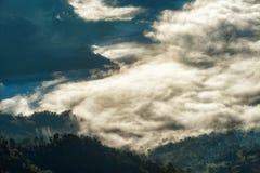Landskap av den ljusa morgonsolen med dimma på Phu cheefa i Chiang Rai, Thailand Royaltyfri Bild