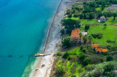 Landskap av den Marmaris Kumlubuk stranden fr?n den Amos Ancient staden Sk?nhet i natur Marmaris Mugla, Turkiet Ferie och sommar arkivbild