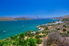 Landskap av den Mirabello fjärden på Kreta Royaltyfri Fotografi