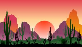 Landskap av den steniga öknen med kakturs arkivfoton