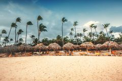 Landskap av den tropiska östranden för paradis arkivbilder