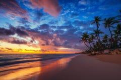 Landskap av den tropiska ?stranden f?r paradis, soluppg?ngskott arkivfoto