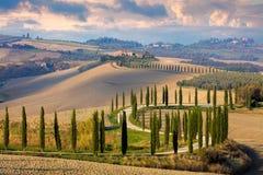 Landskap av den Tuscany naturen, lantliga Italien Royaltyfria Foton