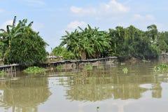 Landskap av det härliga landskapet på den Saigon floden i Ho Chi Minh City, Vietnam, Asien royaltyfri fotografi