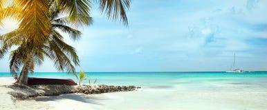 Landskap av det karibiska havet med ett fartyg som ligger under en palmträd på vänstra sidan av bilden I bakgrunden a royaltyfri fotografi