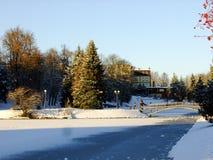Landskap av det Panevezys centret i Litauen Arkivfoto