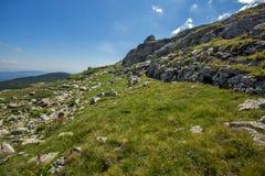 Landskap av det Rila berget nära de sju Rila sjöarna, Bulgariai Fotografering för Bildbyråer