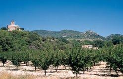 Landskap av DrÃ'men Provençale in mot Mirmande med ett litet romanskt kapell som omges av aprikosträd royaltyfri bild
