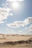 Landskap av en ensam öken på middagen Fotografering för Bildbyråer