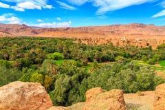 Landskap av en typisk moroccan berberby med oasen i Royaltyfri Fotografi