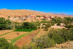 Landskap av en typisk moroccan berberby med oasen i Royaltyfri Foto