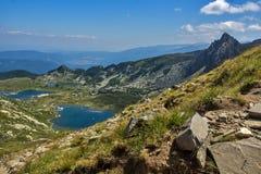 Landskap av fisken, de tvilling- och Trefoil sjöarna, de sju Rila sjöarna, Bulgarien Royaltyfria Foton
