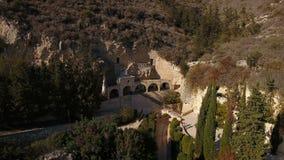 Landskap av forntida byggnad från fågelsikt arkivfilmer