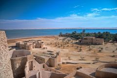 Landskap av Gaafar ecolodge Siwa Egypten Arkivbilder