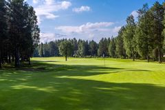 Landskap av golffält- och hålflaggan Fotografering för Bildbyråer