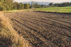 Landskap av grusjord och jordjordning, brunt av liten jord och torr jord Royaltyfri Bild