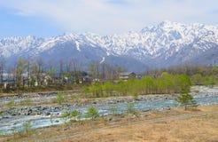 Landskap av Hakuba i Nagano, Japan Royaltyfria Bilder