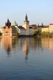 Landskap av kajen i Prague Royaltyfri Bild