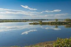 Landskap av lagun på nationalparken för Po-deltaflod, Ita Royaltyfri Fotografi