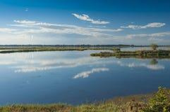 Landskap av lagun på nationalparken för Po-deltaflod, Ita Arkivfoto
