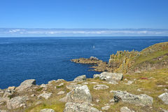 Landskap av Land's End i Cornwall England Arkivfoto
