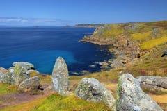 Landskap av Land's End i Cornwall England Royaltyfri Bild