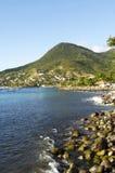 Landskap av Les Anses D Arlet, liten och nätt Anse i Martinique royaltyfri foto