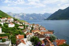 Landskap av Montenegro, Perast arkivbild