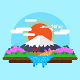 landskap av Mount Fuji stock illustrationer