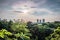 Landskap av naturen och staden arkivfoto