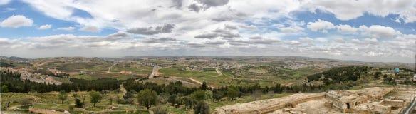 Landskap av omnejden av den forntida staden av Jerusalem Royaltyfria Bilder
