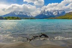 Landskap av Pehoe sjön, Patagonia, Chile arkivfoto