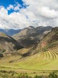 Landskap av Pisaq, i den sakrala dalen av incasna Arkivbilder