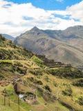 Landskap av Pisaq, i den sakrala dalen av incasna Arkivfoton
