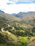 Landskap av Pisaq i den sakrala dalen för Peru ` s av incasna Arkivfoton