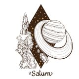 Landskap av planeten rhombus saturn royaltyfri illustrationer