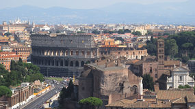 Landskap av Rome med Coliseoen Arkivfoton