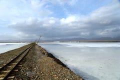 Landskap av Saka Salt Lake Arkivbild