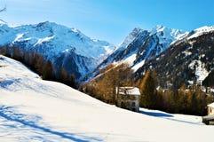 Landskap av schweiziska fjällängar Arkivbilder