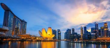 Landskap av Singapore det finansiella området Arkivbild