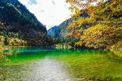 Landskap av sjön i skog med färgrika blad och berget i höst Fotografering för Bildbyråer