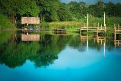 Landskap av sjön och träd Arkivbild