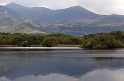 Landskap av sjön, skogen och berg fotografering för bildbyråer