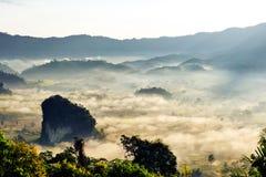 Landskap av solsken på morgonmisten på Phu Lang Ka, Phayao royaltyfri bild