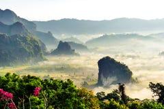 Landskap av solsken på morgonmisten på Phu Lang Ka, Phayao royaltyfria bilder