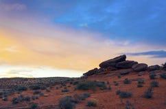 Landskap av soluppgång på hästskokrökningen Royaltyfri Bild