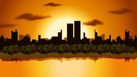 Landskap av stads- solnedgång Royaltyfria Bilder